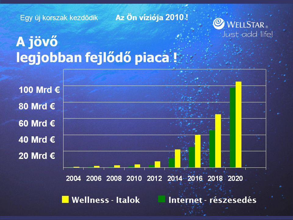 A jövő legjobban fejlődő piaca ! 20 Mrd € 40 Mrd € 60 Mrd € 80 Mrd € 100 Mrd € Wellness - Italok Internet - részesedés Egy új korszak kezdődik Az Ön v