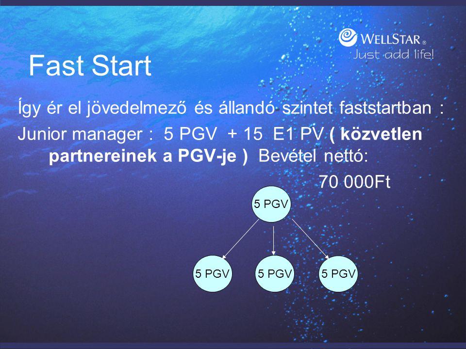 Fast Start Így ér el jövedelmező és állandó szintet faststartban : Junior manager : 5 PGV + 15 E1 PV ( közvetlen partnereinek a PGV-je ) Bevétel nettó