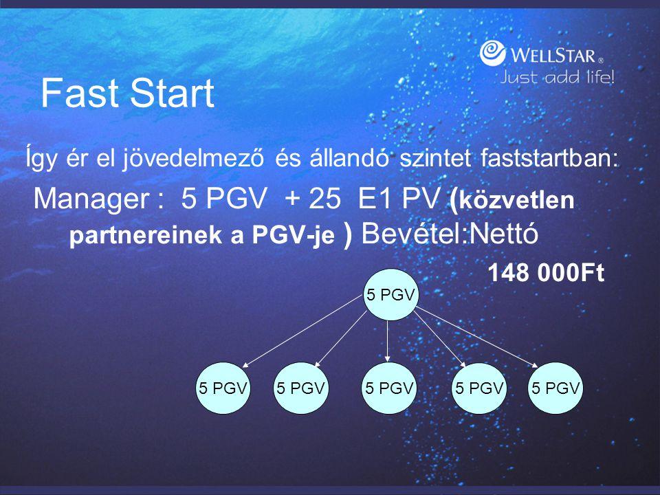 Fast Start Így ér el jövedelmező és állandó szintet faststartban: Manager : 5 PGV + 25 E1 PV ( közvetlen partnereinek a PGV-je ) Bevétel:Nettó 148 000