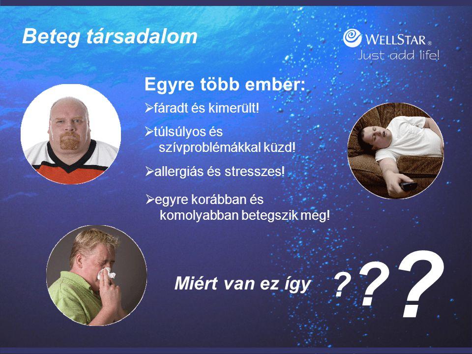 WellStarWellStar Beteg társadalom Egyre több ember:  fáradt és kimerült!  túlsúlyos és szívproblémákkal küzd!  allergiás és stresszes!  egyre korá