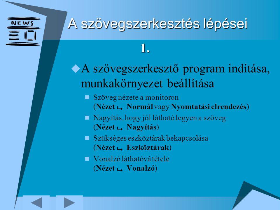 A szövegszerkesztés lépései  A szövegszerkesztő program indítása, munkakörnyezet beállítása Szöveg nézete a monitoron (Nézet  Normál vagy Nyomtatási