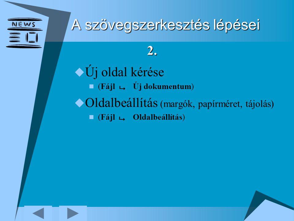 A szövegszerkesztés lépései  Új oldal kérése (Fájl  Új dokumentum)  Oldalbeállítás (margók, papírméret, tájolás) (Fájl  Oldalbeállítás) 2.