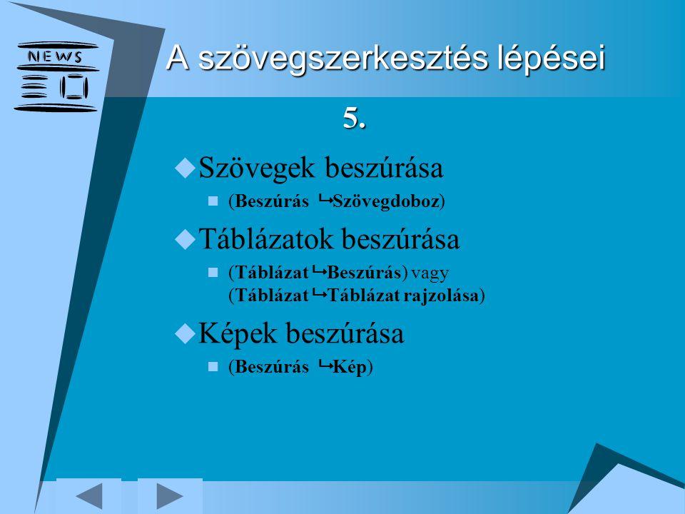 A szövegszerkesztés lépései  Szövegek beszúrása (Beszúrás  Szövegdoboz)  Táblázatok beszúrása (Táblázat  Beszúrás) vagy (Táblázat  Táblázat rajzo