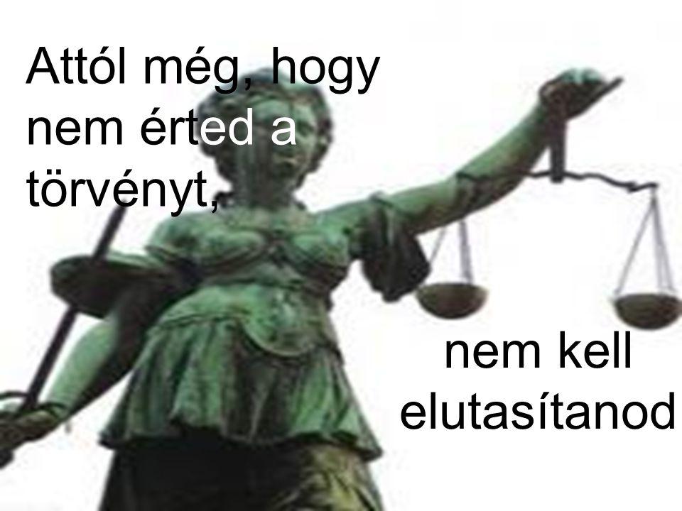 Attól még, hogy nem érted a törvényt, nem kell elutasítanod
