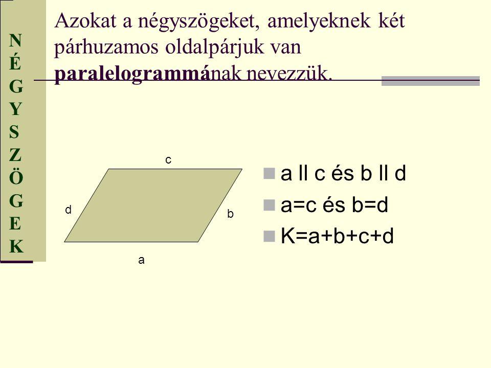 NÉGYSZÖGEKNÉGYSZÖGEK Azokat a négyszögeket, amelyeknek két párhuzamos oldalpárjuk van paralelogrammának nevezzük. a ll c és b ll d a=c és b=d K=a+b+c+