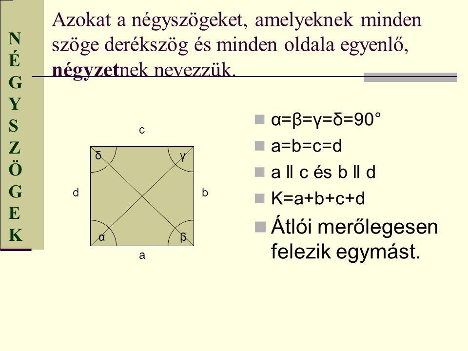 NÉGYSZÖGEKNÉGYSZÖGEK Azokat a négyszögeket, amelyeknek minden szöge derékszög és minden oldala egyenlő, négyzetnek nevezzük. α=β=γ=δ=90° a=b=c=d a ll