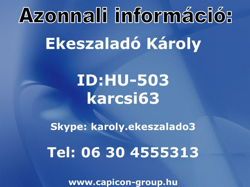 Ekeszaladó Károly ID:HU-503 karcsi63 Skype: karoly.ekeszalado3 Tel: 06 30 4555313 www.capicon-group.hu