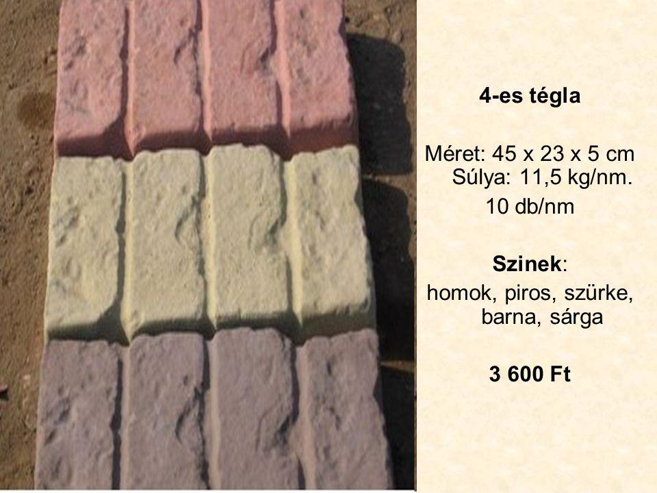 4-es tégla Méret: 45 x 23 x 5 cm Súlya: 11,5 kg/nm.