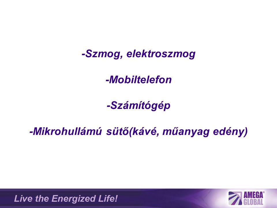 -Szmog, elektroszmog -Mobiltelefon -Számítógép -Mikrohullámú sütő(kávé, műanyag edény)
