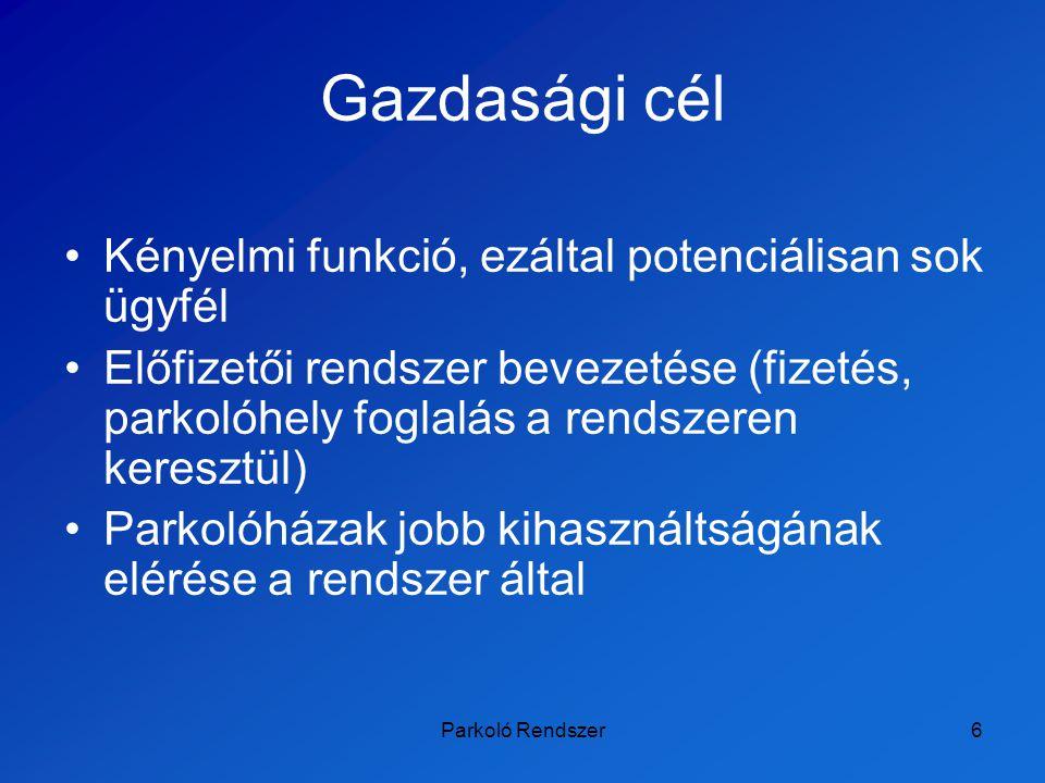 Parkoló Rendszer7 Innovatív cél Magyarországon ilyen még nem található Külföldön is csak a szolgáltatások egyes részei találhatók meg (ld.: state-of-the-art) A rendszert Budapest összes parkolóházára ki szeretnénk terjeszteni