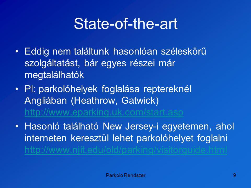 Parkoló Rendszer10 Tartalomjegyzék A feladat célja –Műszaki célok –Társadalmi célok –Gazdasági célok –Innovatív célok State-of-the-art Projekt munkaterve Pénzügyi adatok A tagok feladatai Összefoglalás