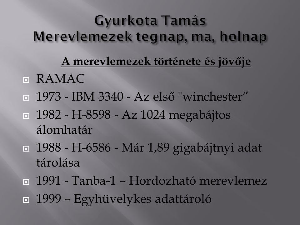 A merevlemezek története és jövője  RAMAC  1973 - IBM 3340 - Az első winchester  1982 - H-8598 - Az 1024 megabájtos álomhatár  1988 - H-6586 - Már 1,89 gigabájtnyi adat tárolása  1991 - Tanba-1 – Hordozható merevlemez  1999 – Egyhüvelykes adattároló