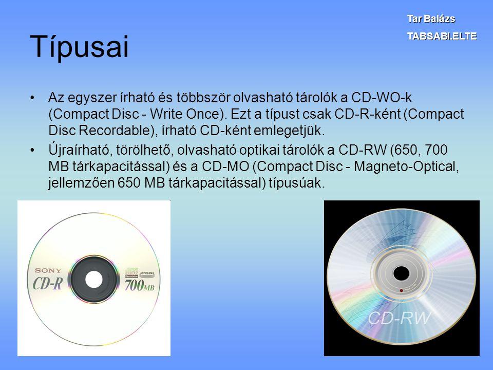 Típusai Az egyszer írható és többször olvasható tárolók a CD-WO-k (Compact Disc - Write Once). Ezt a típust csak CD-R-ként (Compact Disc Recordable),