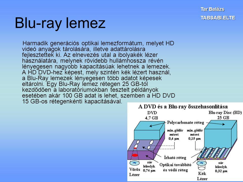 Blu-ray lemez Harmadik generációs optikai lemezformátum, melyet HD videó anyagok tárolására, illetve adattárolásra fejlesztettek ki. Az elnevezés utal