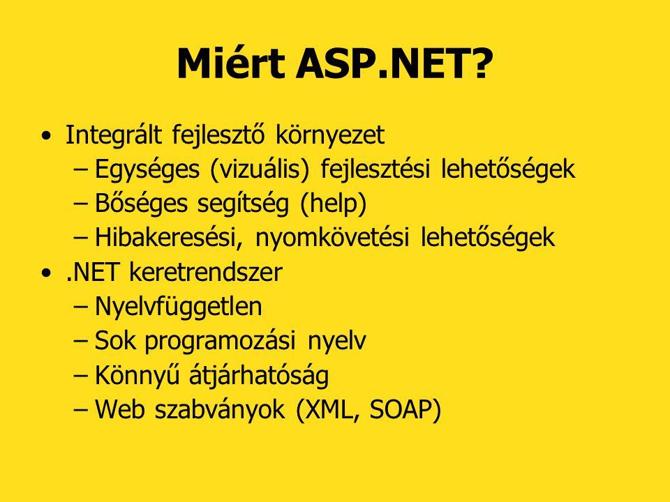 Miért ASP.NET? Integrált fejlesztő környezet –Egységes (vizuális) fejlesztési lehetőségek –Bőséges segítség (help) –Hibakeresési, nyomkövetési lehetős