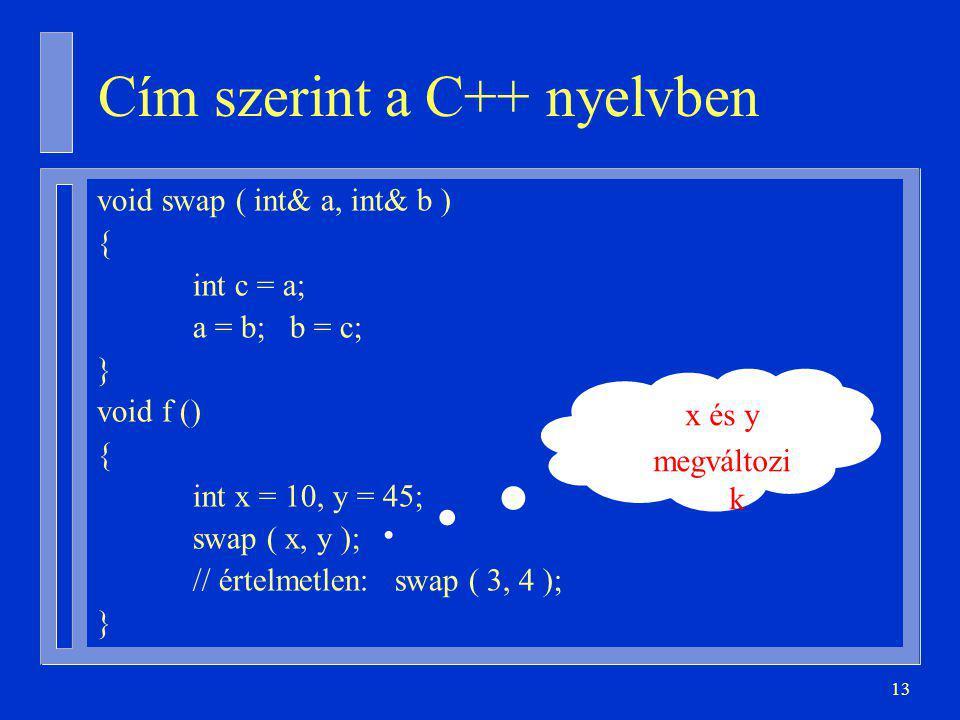 13 Cím szerint a C++ nyelvben void swap ( int& a, int& b ) { int c = a; a = b; b = c; } void f () { int x = 10, y = 45; swap ( x, y ); // értelmetlen: swap ( 3, 4 ); } x és y megváltozi k
