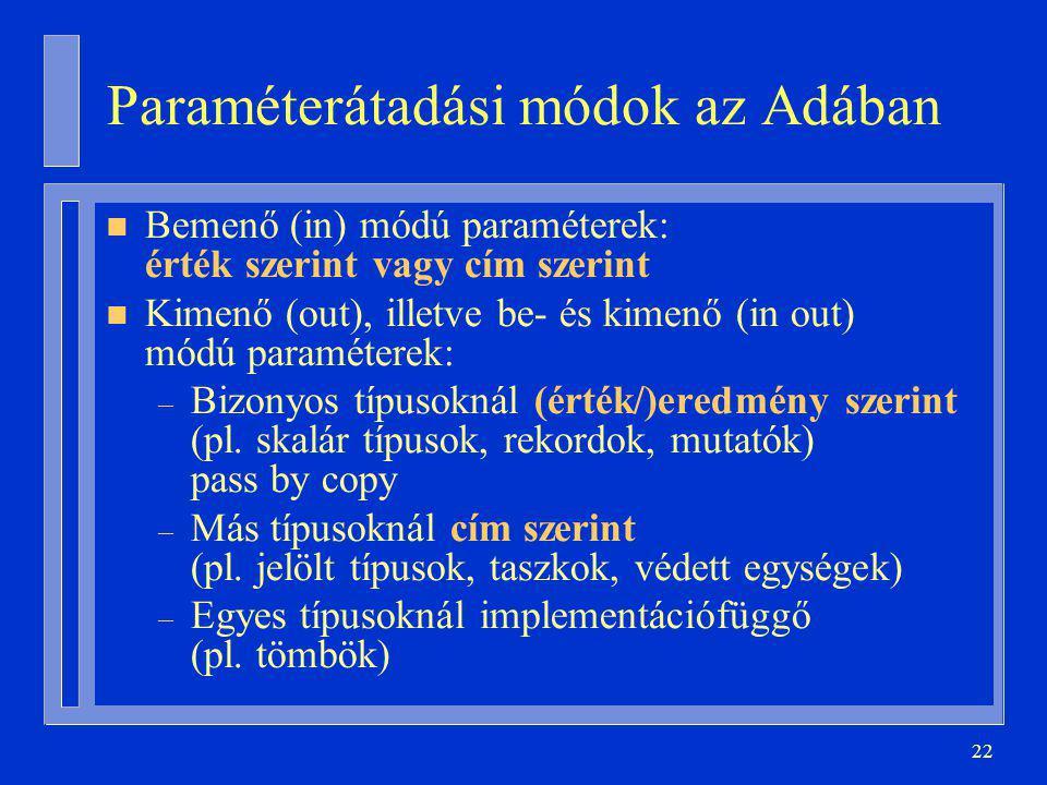 22 Paraméterátadási módok az Adában n Bemenő (in) módú paraméterek: érték szerint vagy cím szerint n Kimenő (out), illetve be- és kimenő (in out) módú paraméterek: – Bizonyos típusoknál (érték/)eredmény szerint (pl.