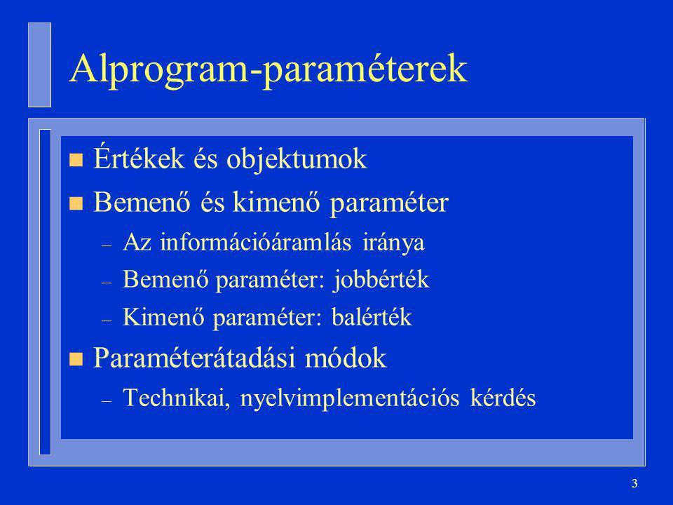 3 Alprogram-paraméterek n Értékek és objektumok n Bemenő és kimenő paraméter – Az információáramlás iránya – Bemenő paraméter: jobbérték – Kimenő paraméter: balérték n Paraméterátadási módok – Technikai, nyelvimplementációs kérdés