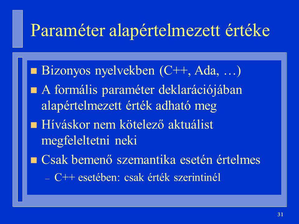 31 Paraméter alapértelmezett értéke n Bizonyos nyelvekben (C++, Ada, …) n A formális paraméter deklarációjában alapértelmezett érték adható meg n Híváskor nem kötelező aktuálist megfeleltetni neki n Csak bemenő szemantika esetén értelmes – C++ esetében: csak érték szerintinél