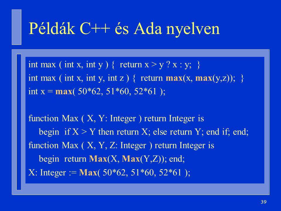 39 Példák C++ és Ada nyelven int max ( int x, int y ) { return x > y .