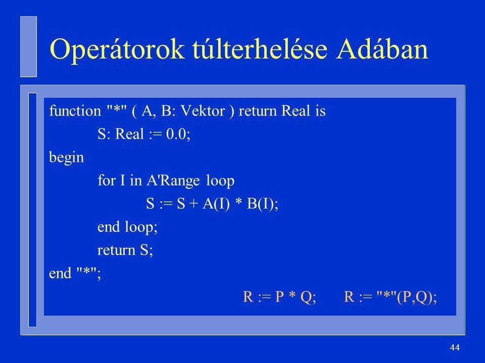 44 Operátorok túlterhelése Adában function * ( A, B: Vektor ) return Real is S: Real := 0.0; begin for I in A Range loop S := S + A(I) * B(I); end loop; return S; end * ; R := P * Q; R := * (P,Q);
