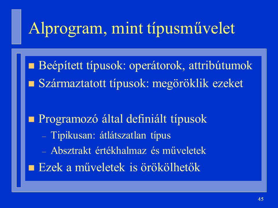 45 Alprogram, mint típusművelet n Beépített típusok: operátorok, attribútumok n Származtatott típusok: megöröklik ezeket n Programozó által definiált típusok – Tipikusan: átlátszatlan típus – Absztrakt értékhalmaz és műveletek n Ezek a műveletek is örökölhetők
