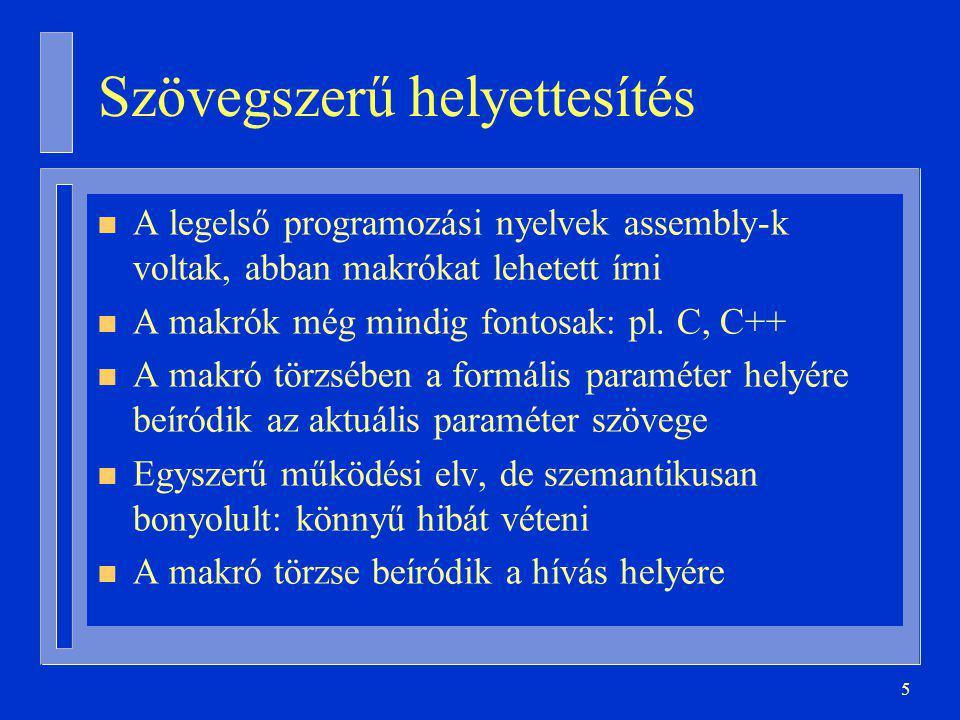 5 Szövegszerű helyettesítés n A legelső programozási nyelvek assembly-k voltak, abban makrókat lehetett írni n A makrók még mindig fontosak: pl.