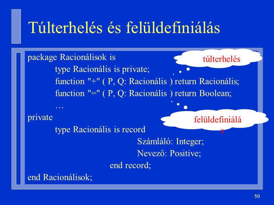 50 Túlterhelés és felüldefiniálás package Racionálisok is type Racionális is private; function + ( P, Q: Racionális ) return Racionális; function = ( P, Q: Racionális ) return Boolean; … private type Racionális is record Számláló: Integer; Nevező: Positive; end record; end Racionálisok; túlterhelés felüldefiniálá s