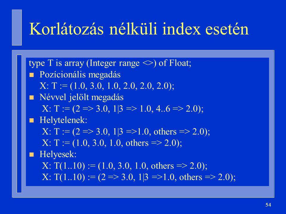 54 Korlátozás nélküli index esetén type T is array (Integer range <>) of Float; n Pozícionális megadás X: T := (1.0, 3.0, 1.0, 2.0, 2.0, 2.0); n Névvel jelölt megadás X: T := (2 => 3.0, 1|3 => 1.0, 4..6 => 2.0); n Helytelenek: X: T := (2 => 3.0, 1|3 =>1.0, others => 2.0); X: T := (1.0, 3.0, 1.0, others => 2.0); n Helyesek: X: T(1..10) := (1.0, 3.0, 1.0, others => 2.0); X: T(1..10) := (2 => 3.0, 1|3 =>1.0, others => 2.0);