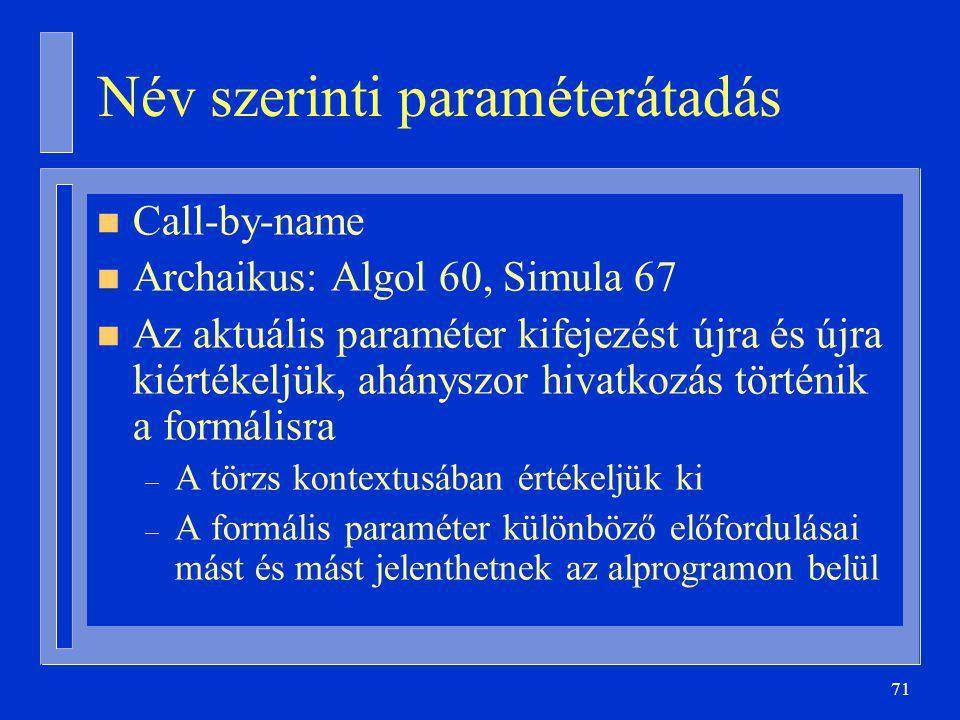 71 Név szerinti paraméterátadás n Call-by-name n Archaikus: Algol 60, Simula 67 n Az aktuális paraméter kifejezést újra és újra kiértékeljük, ahányszor hivatkozás történik a formálisra – A törzs kontextusában értékeljük ki – A formális paraméter különböző előfordulásai mást és mást jelenthetnek az alprogramon belül