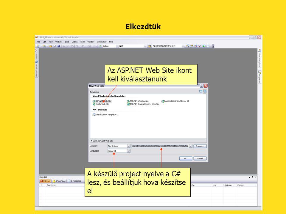 Elkezdtük Az ASP.NET Web Site ikont kell kiválasztanunk A készülő project nyelve a C# lesz, és beállítjuk hova készítse el