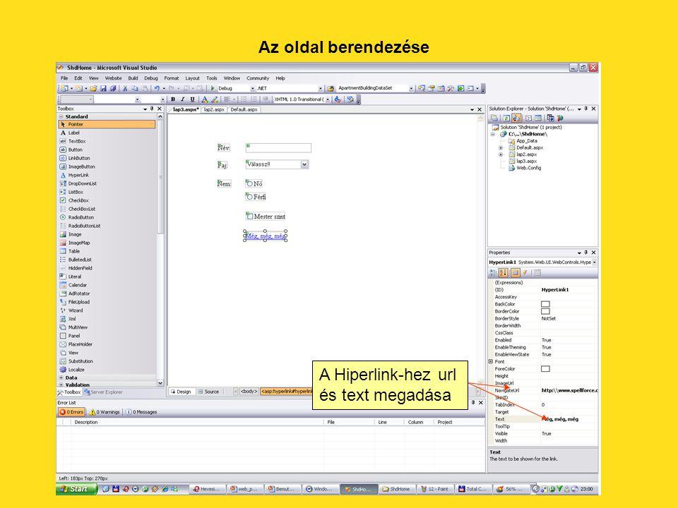 Az oldal berendezése A Hiperlink-hez url és text megadása