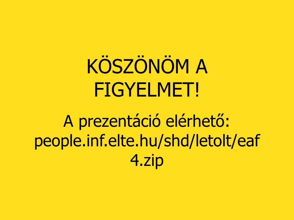 KÖSZÖNÖM A FIGYELMET! A prezentáció elérhető: people.inf.elte.hu/shd/letolt/eaf 4.zip