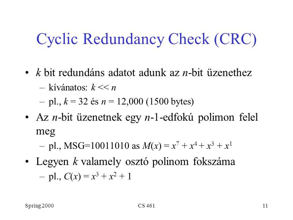 Spring 2000CS 46111 Cyclic Redundancy Check (CRC) k bit redundáns adatot adunk az n-bit üzenethez –kívánatos: k << n –pl., k = 32 és n = 12,000 (1500 bytes) Az n-bit üzenetnek egy n-1-edfokú polimon felel meg –pl., MSG=10011010 as M(x) = x 7 + x 4 + x 3 + x 1 Legyen k valamely osztó polinom fokszáma –pl., C(x) = x 3 + x 2 + 1