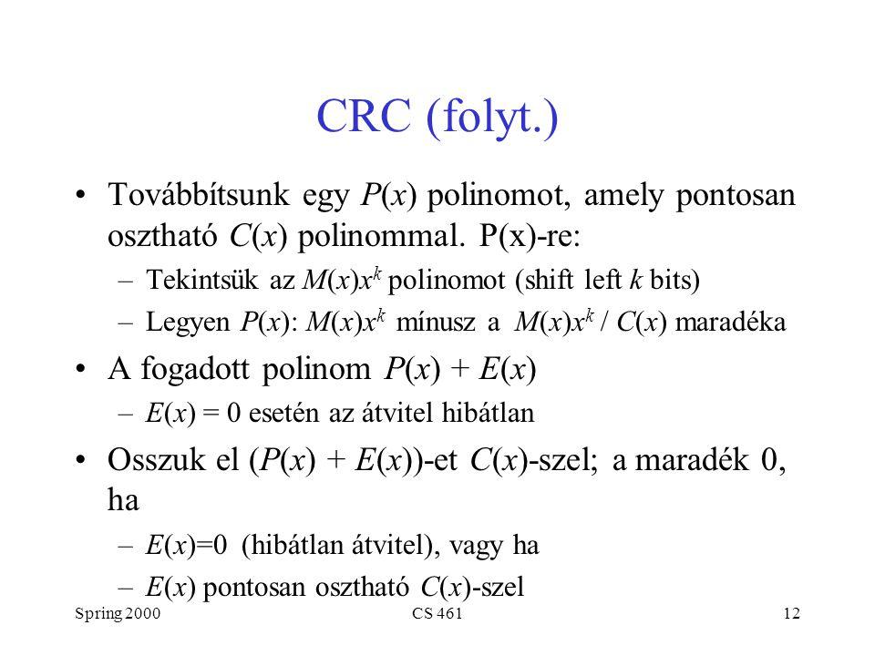 Spring 2000CS 46112 CRC (folyt.) Továbbítsunk egy P(x) polinomot, amely pontosan osztható C(x) polinommal. P(x)-re: –Tekintsük az M(x)x k polinomot (s
