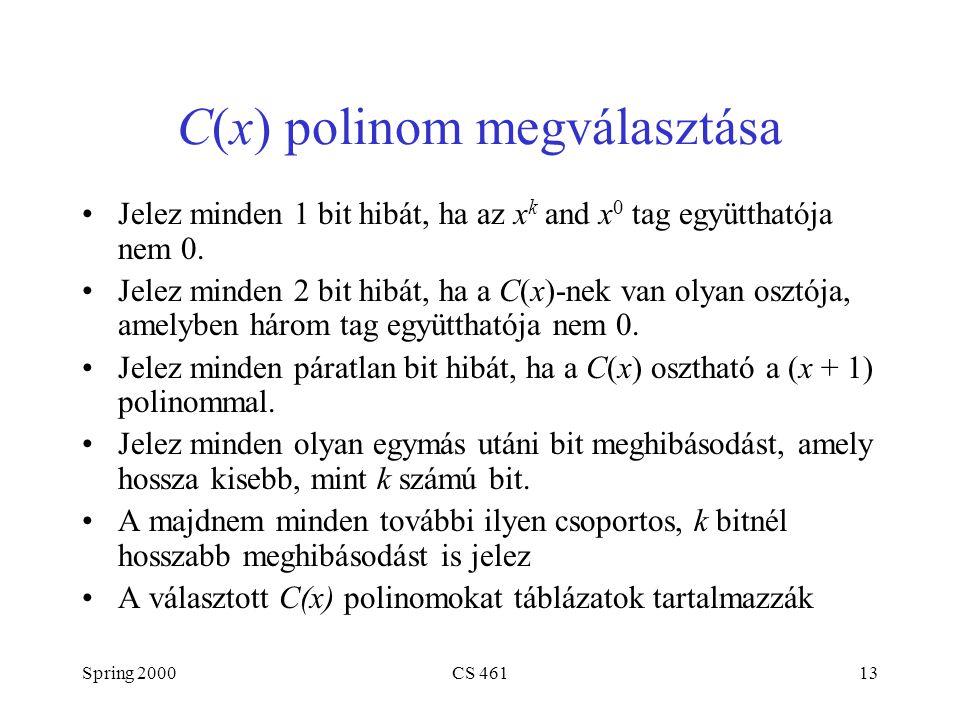 Spring 2000CS 46113 C(x) polinom megválasztása Jelez minden 1 bit hibát, ha az x k and x 0 tag együtthatója nem 0. Jelez minden 2 bit hibát, ha a C(x)