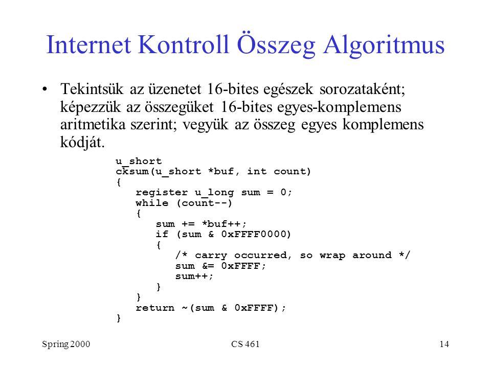 Spring 2000CS 46114 Internet Kontroll Összeg Algoritmus Tekintsük az üzenetet 16-bites egészek sorozataként; képezzük az összegüket 16-bites egyes-komplemens aritmetika szerint; vegyük az összeg egyes komplemens kódját.