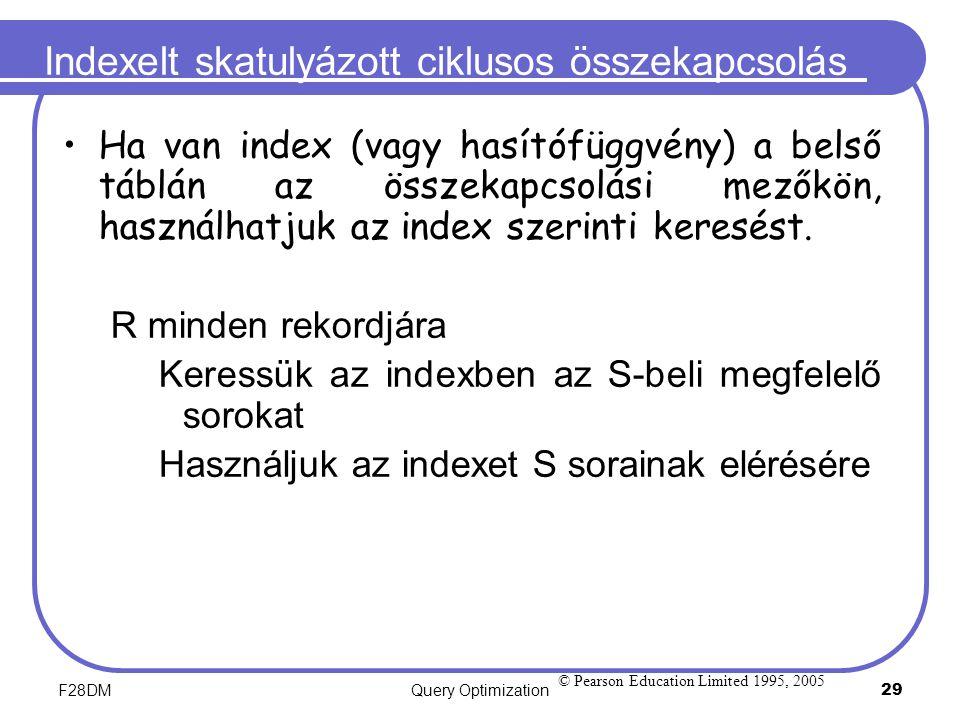 F28DMQuery Optimization 29 Indexelt skatulyázott ciklusos összekapcsolás Ha van index (vagy hasítófüggvény) a belső táblán az összekapcsolási mezőkön,