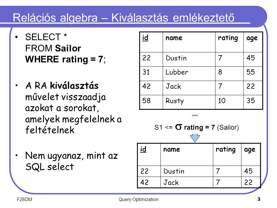 F28DMQuery Optimization 3 Relációs algebra – Kiválasztás emlékeztető SELECT * FROM Sailor WHERE rating = 7; A RA kiválasztás művelet visszaadja azokat a sorokat, amelyek megfelelnek a feltételnek Nem ugyanaz, mint az SQL select idnameratingage 22Dustin745 31Lubber855 42Jack722 58Rusty1035 idnameratingage 22Dustin745 42Jack722 S1 <=  rating = 7 (Sailor)