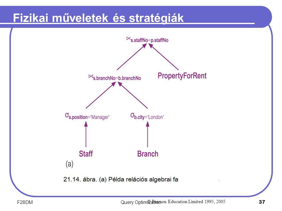 F28DMQuery Optimization 37 Fizikai műveletek és stratégiák © Pearson Education Limited 1995, 2005