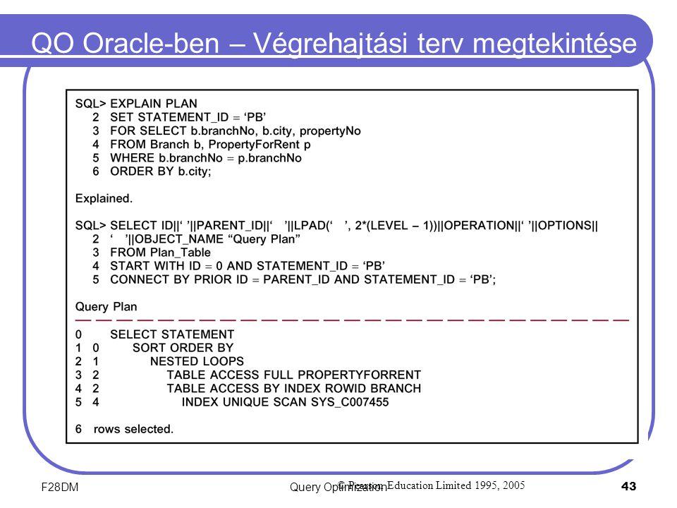 F28DMQuery Optimization 43 QO Oracle-ben – Végrehajtási terv megtekintése © Pearson Education Limited 1995, 2005
