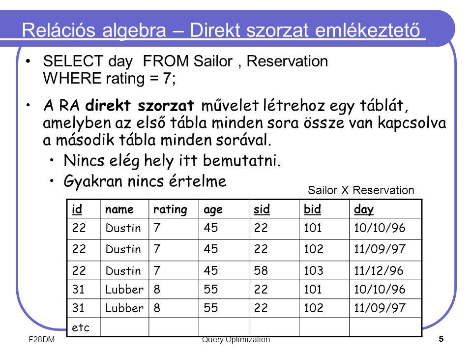 F28DMQuery Optimization 5 Relációs algebra – Direkt szorzat emlékeztető SELECT day FROM Sailor, Reservation WHERE rating = 7; A RA direkt szorzat művelet létrehoz egy táblát, amelyben az első tábla minden sora össze van kapcsolva a második tábla minden sorával.