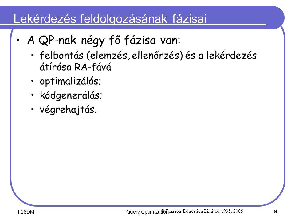 F28DMQuery Optimization 9 Lekérdezés feldolgozásának fázisai A QP-nak négy fő fázisa van: felbontás (elemzés, ellenőrzés) és a lekérdezés átírása RA-f