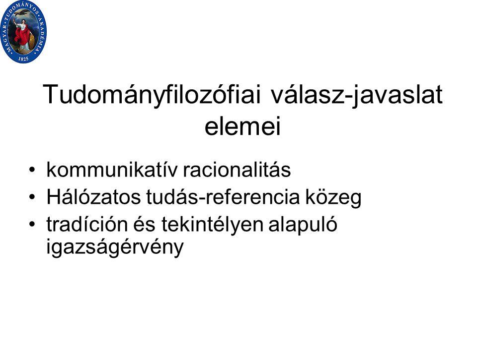 Tudományfilozófiai válasz-javaslat elemei kommunikatív racionalitás Hálózatos tudás-referencia közeg tradíción és tekintélyen alapuló igazságérvény