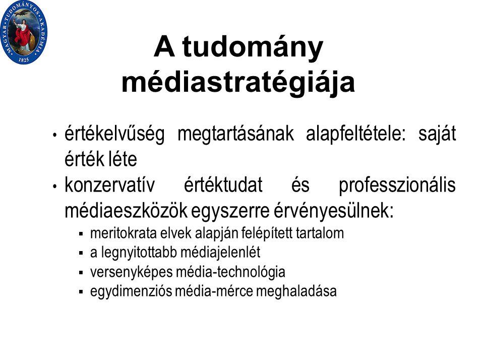 A tudomány médiastratégiája értékelvűség megtartásának alapfeltétele: saját érték léte konzervatív értéktudat és professzionális médiaeszközök egyszerre érvényesülnek:  meritokrata elvek alapján felépített tartalom  a legnyitottabb médiajelenlét  versenyképes média-technológia  egydimenziós média-mérce meghaladása