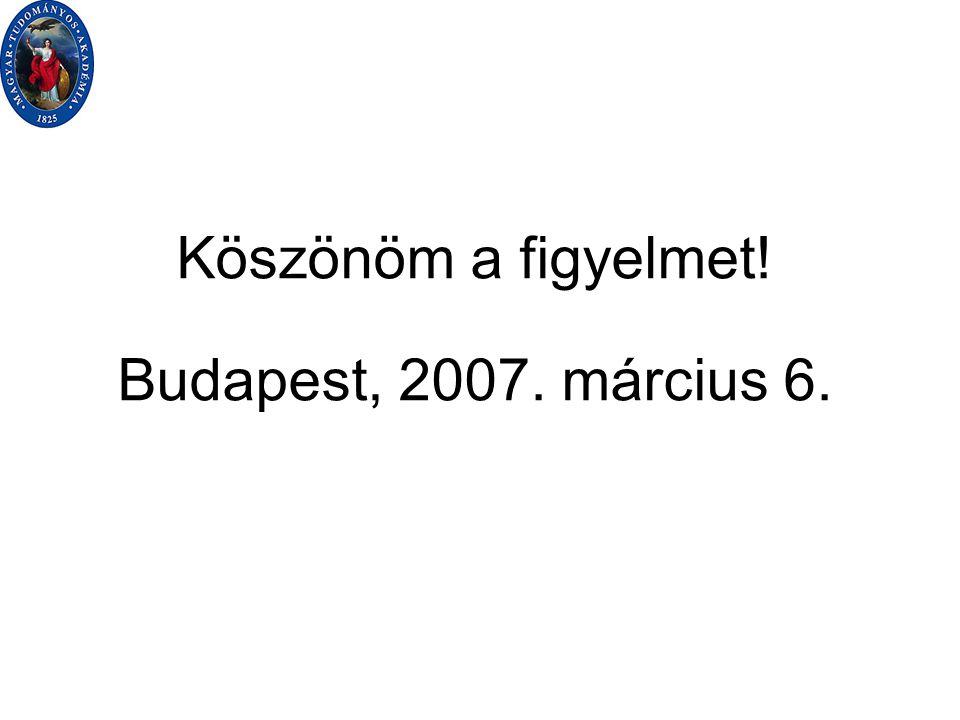Köszönöm a figyelmet! Budapest, 2007. március 6.