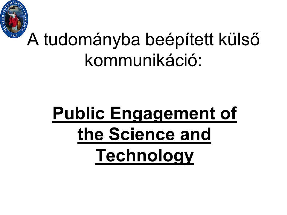 Esettanulmány: akadémiai reform és tudomány Kiindulás: kommunikációs nyomás Kommunikációs válasz tartalmi háttér nélkül elégtelen Tudományszervezeti és kutatás-produkciós válasz használható érv (de nem több!) Kommunikációs és tudománypolitizálási válasz hatékonysága Tudományszervezeti folyamatokat indukál Kutatás-tematikai és prezentációs folyományok
