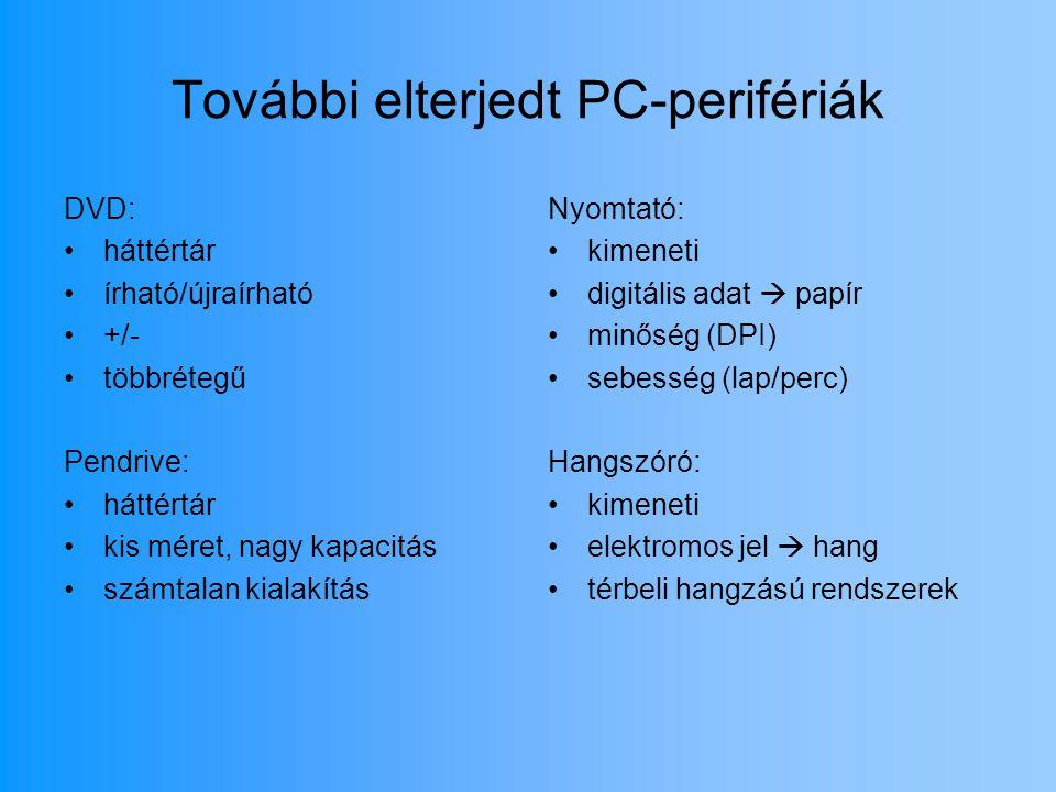 További elterjedt PC-perifériák DVD: háttértár írható/újraírható +/- többrétegű Pendrive: háttértár kis méret, nagy kapacitás számtalan kialakítás Nyo