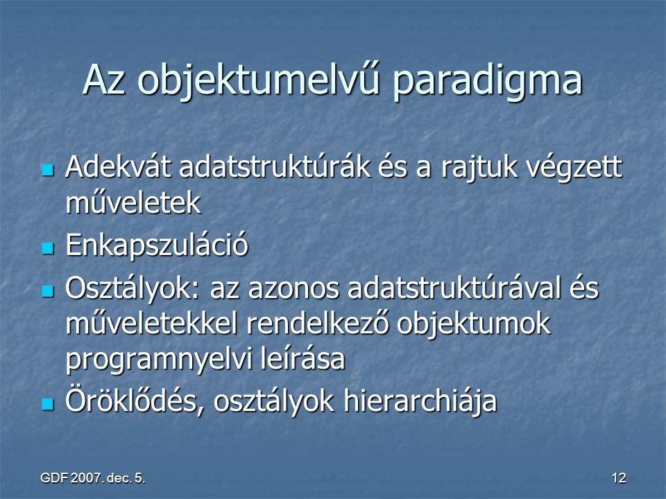 GDF 2007. dec. 5.12 Az objektumelvű paradigma Adekvát adatstruktúrák és a rajtuk végzett műveletek Adekvát adatstruktúrák és a rajtuk végzett művelete
