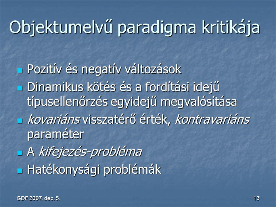 GDF 2007. dec. 5.13 Objektumelvű paradigma kritikája Pozitív és negatív változások Pozitív és negatív változások Dinamikus kötés és a fordítási idejű